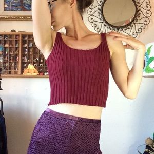 Urban Outfitters Tops - Maroon Red Chunky Rib Knit Crop Top tank